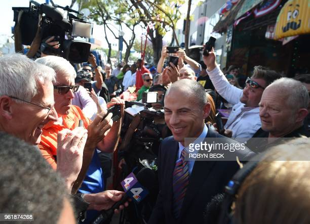 Michael Avenatti attorney for adult film star Stormy Daniels speaks to the media after Daniels received a key to the city of West Hollywood from...