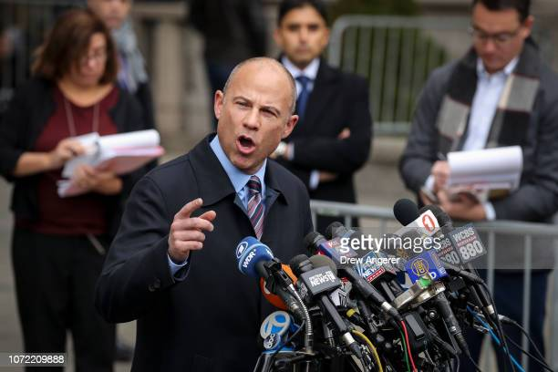 Michael Avenatti attorney for Stephanie Clifford also known as adult film actress Stormy Daniels speaks to the press outside federal court after...