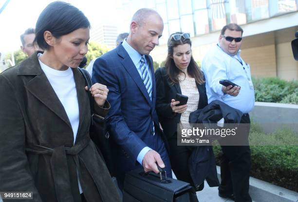 Michael Avenatti attorney for Stephanie Clifford also known as adult film actress Stormy Daniels walks past reporters as he leaves the US District...