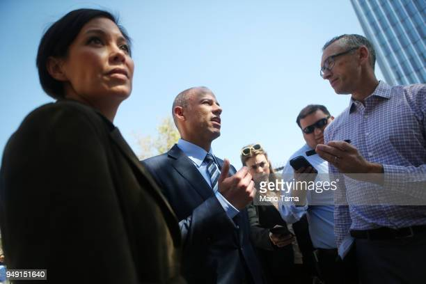 Michael Avenatti attorney for Stephanie Clifford also known as adult film actress Stormy Daniels speaks to reporters as he leaves the US District...