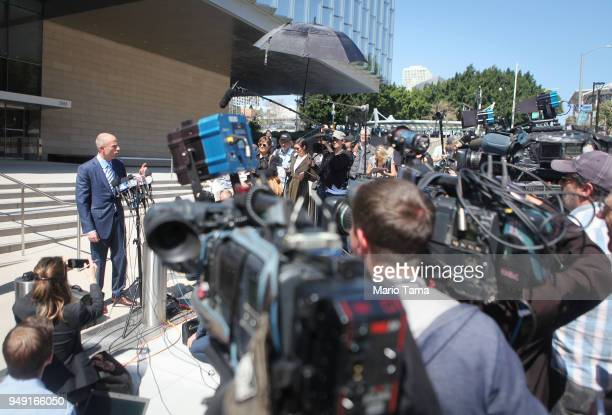 Michael Avenatti attorney for Stephanie Clifford also known as adult film actress Stormy Daniels speaks to reporters after leaving the US District...