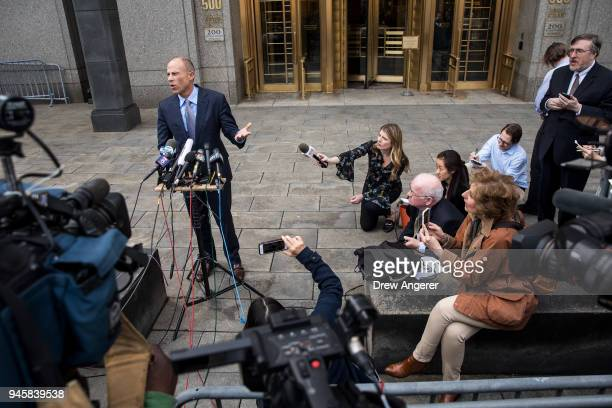 Michael Avenatti attorney for Stormy Daniels speaks to reporters following a court proceeding regarding the search warrants served on President...