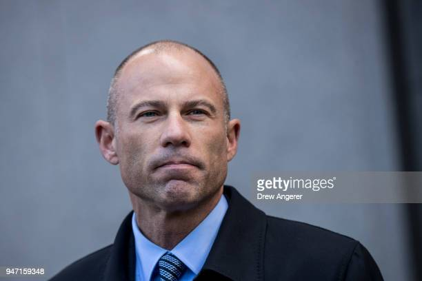 Michael Avenatti attorney for Stormy Daniels speaks to reporters as he exits the United States District Court Southern District of New York for a...