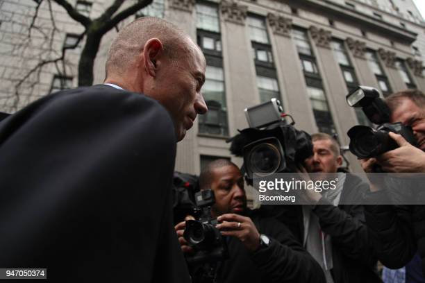 Michael Avenatti lawyer of adultfilm actress Stormy Daniels arrives at Federal Court in New York US on Monday April 16 2018 Avenatti told reporters...