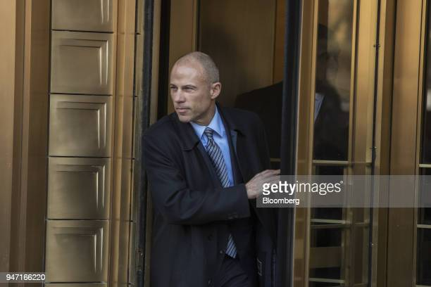 Michael Avenatti lawyer of adultfilm actress Stormy Daniels exits from Federal Court in New York US on Monday April 16 2018 Avenatti told reporters...