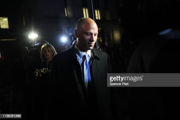 Michael Avenatti the former lawyer for adult film actress Stormy Daniels exits a New York court after being arrested for allegedly trying to extort...