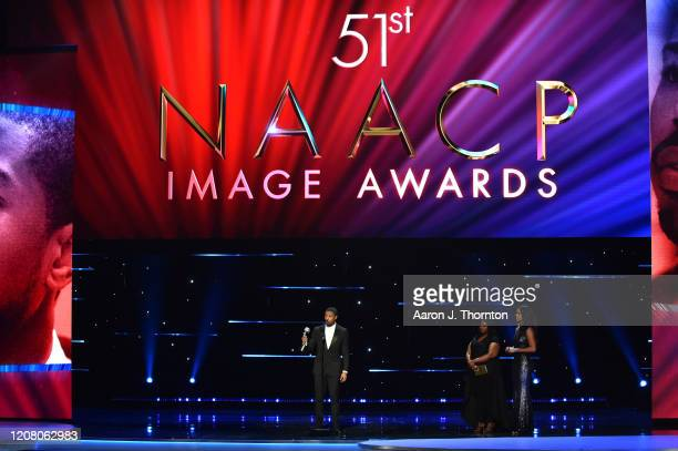 Michael B Jordan accepts the Outstanding Actor in a Motion Picture award for Just Mercy onstage during the 51st NAACP Image Awards Presented by BET...