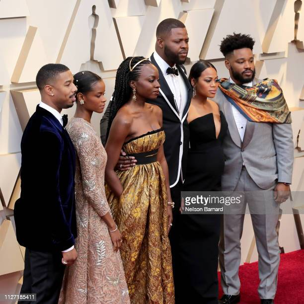 Michael B Jordan and Black Panther cast attends the 91st Annual Academy Awards at Hollywood and Highland on February 24 2019 in Hollywood California