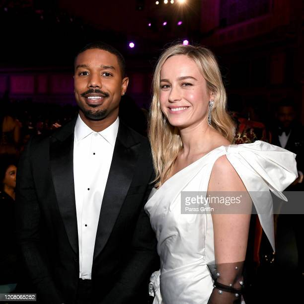 Michael B Jordan and Brie Larson attend the 51st NAACP Image Awards Presented by BET at Pasadena Civic Auditorium on February 22 2020 in Pasadena...