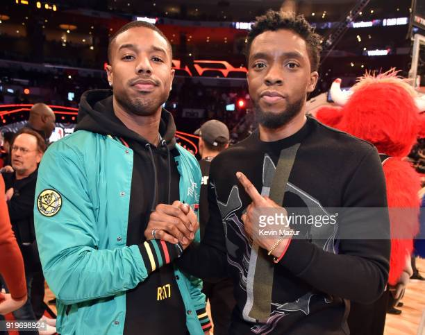 Michael B Jordan and Chadwick Boseman attend the 2018 State Farm AllStar Saturday Night at Staples Center on February 17 2018 in Los Angeles...