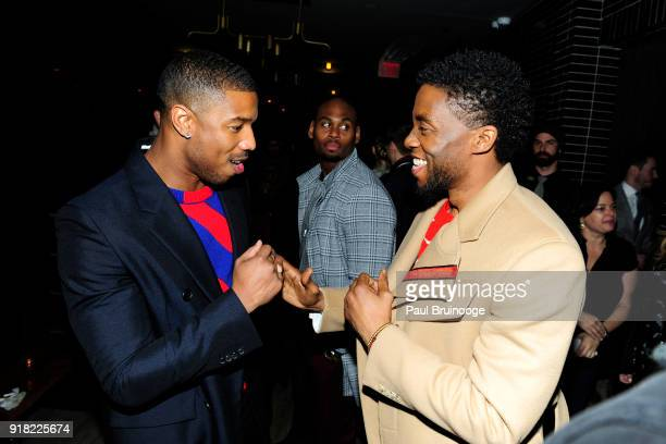 Michael B Jordan and Chadwick Boseman attend The Cinema Society with Ravage Wines Synchrony host the after party for Marvel Studios' 'Black Panther'...
