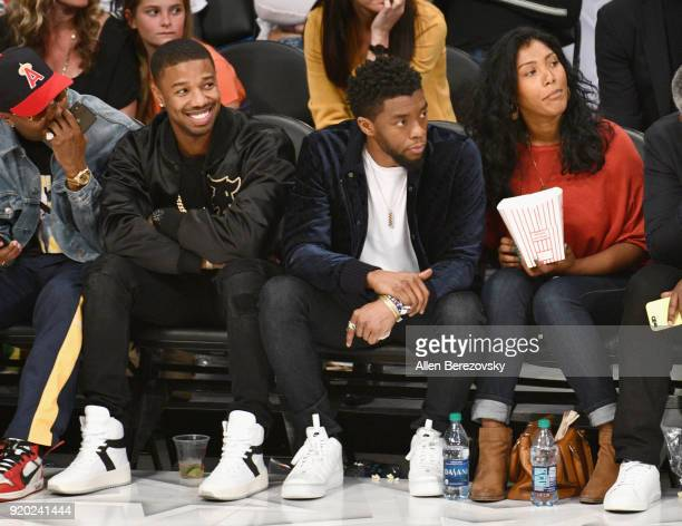 Michael B Jordan and Chadwick Boseman attend the NBA AllStar Game 2018 at Staples Center on February 18 2018 in Los Angeles California