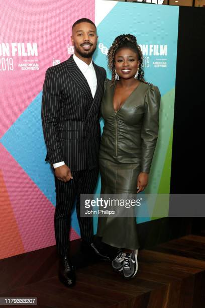 Michael B Jordan and Clara Amfo attend a Screen Talk during the 63rd BFI London Film Festival at the Odeon Luxe Leicester Square on October 06 2019...