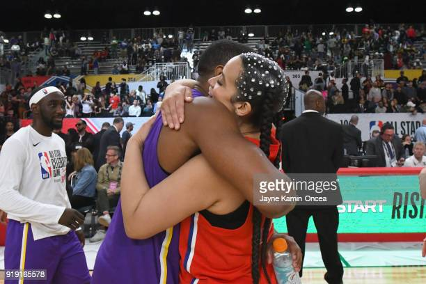 Michael B Jordan and Dascha Polanco hug during the 2018 NBA AllStar Game Celebrity Game at Los Angeles Convention Center on February 16 2018 in Los...