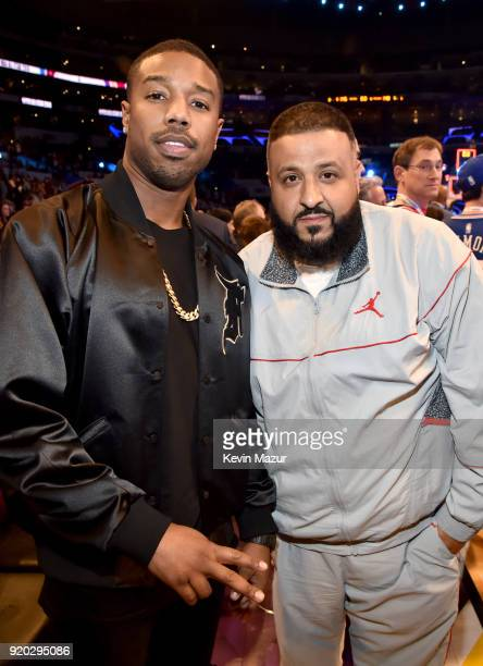 Michael B Jordan and DJ Khaled attend the 67th NBA AllStar Game Team LeBron Vs Team Stephen at Staples Center on February 18 2018 in Los Angeles...