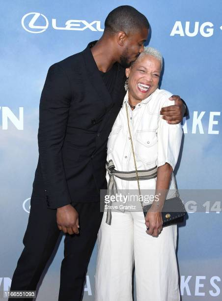 """Michael B. Jordan and Donna Jordan arrives at the Premiere Of OWN's """"David Makes Man"""" at NeueHouse Hollywood on August 06, 2019 in Los Angeles,..."""