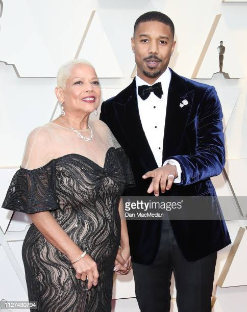 Michael B Jordan and Donna Jordan attend the 91st Annual Academy Awards at Hollywood and Highland on February 24 2019 in Hollywood California