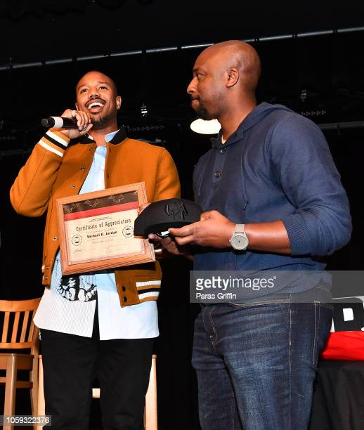 Michael B Jordan and Eric Little onstage during Creed 2 Clark Atlanta University Student Forum at Clark Atlanta University on November 8 2018 in...