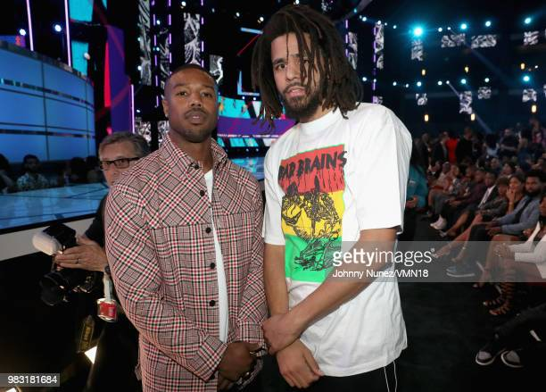 Michael B Jordan and J Cole at the 2018 BET Awards at Microsoft Theater on June 24 2018 in Los Angeles California