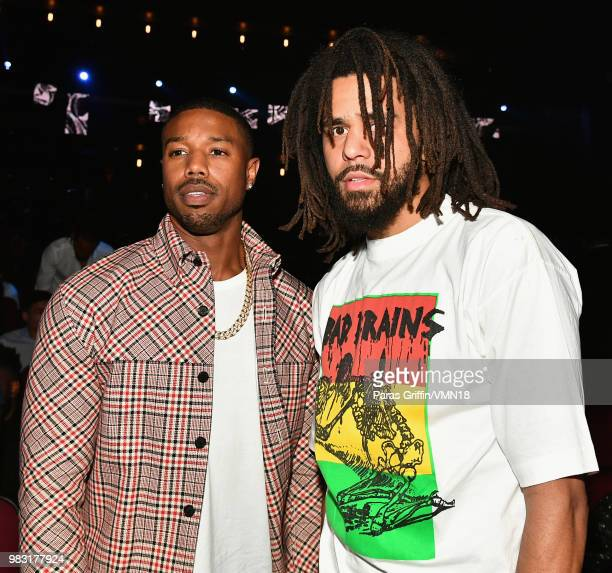 Michael B Jordan and J Cole attend the 2018 BET Awards at Microsoft Theater on June 24 2018 in Los Angeles California