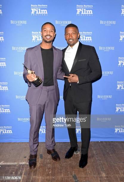 Michael B Jordan and Jamie Foxx attend Belvedere Vodka Celebrates Michael B Jordan's Cinema Vanguard Award at the 34th annual Santa Barbara...