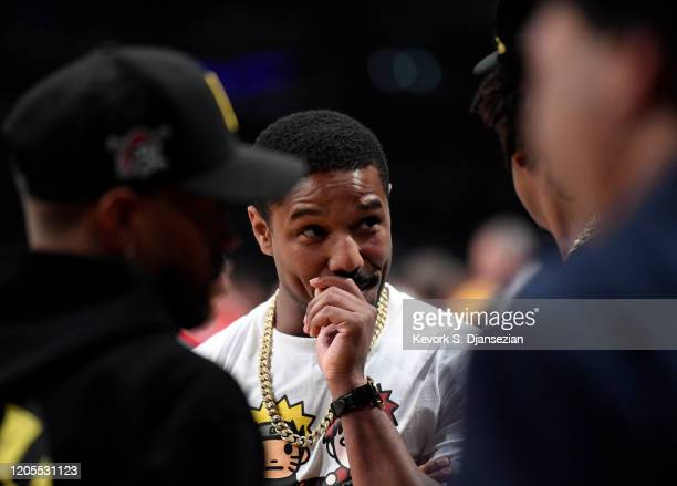 Michael B Jordan and JayZ attend Los Angeles Lakers and Milwaukee Bucks basketball game at Staples Center on March 6 2020 in Los Angeles California