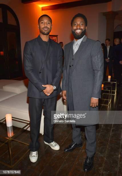 Michael B Jordan and John David Washington attend a private dinner hosted by GQ and Dior in celebration of the 2018 GQ Men Of The Year Party on...