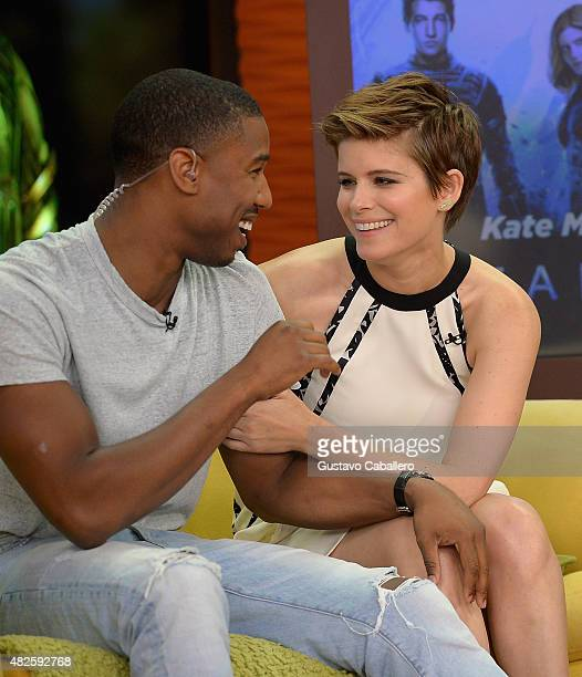 Michael B Jordan and Kate Mara are seen on the set of 'Despierta America' to promote the film 'Fantastic Four' at Univision Studios on July 31 2015...