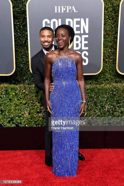 Michael B Jordan and Lupita Nyong'o attend the 76th Annual Golden Globe Awards at The Beverly Hilton Hotel on January 6 2019 in Beverly Hills...