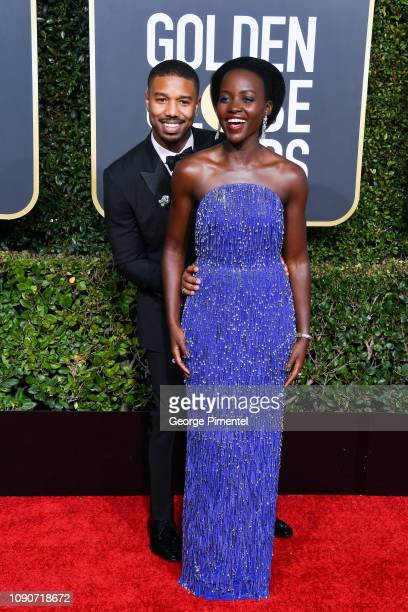 Michael B Jordan and Lupita Nyong'o attend the 76th Annual Golden Globe Awards held at The Beverly Hilton Hotel on January 06 2019 in Beverly Hills...