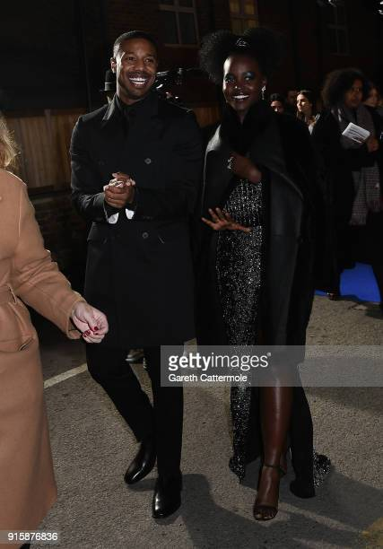 Michael B Jordan and Lupita Nyong'o attend the European Premiere of Marvel Studios' 'Black Panther' at the Eventim Apollo Hammersmith on February 8...