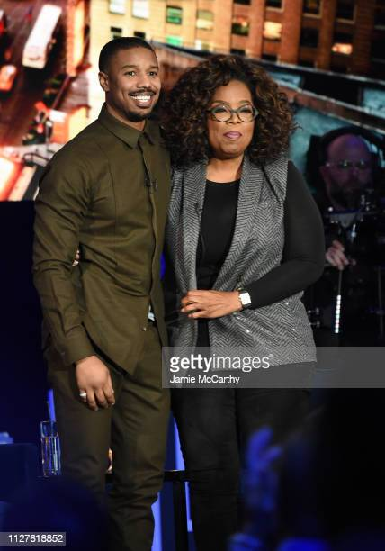 Michael B Jordan and Oprah Winfrey attend Oprah's SuperSoul Conversations at PlayStation Theater on February 05 2019 in New York City