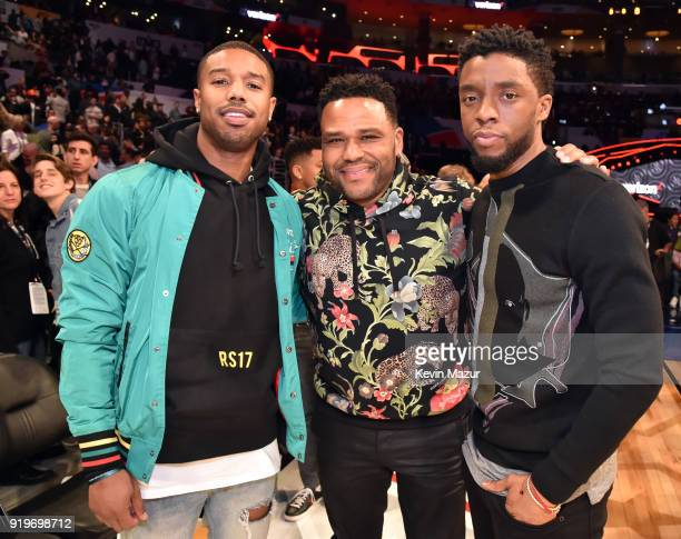 Michael B Jordan Anthony Anderson and Chadwick Boseman attend the 2018 State Farm AllStar Saturday Night at Staples Center on February 17 2018 in Los...