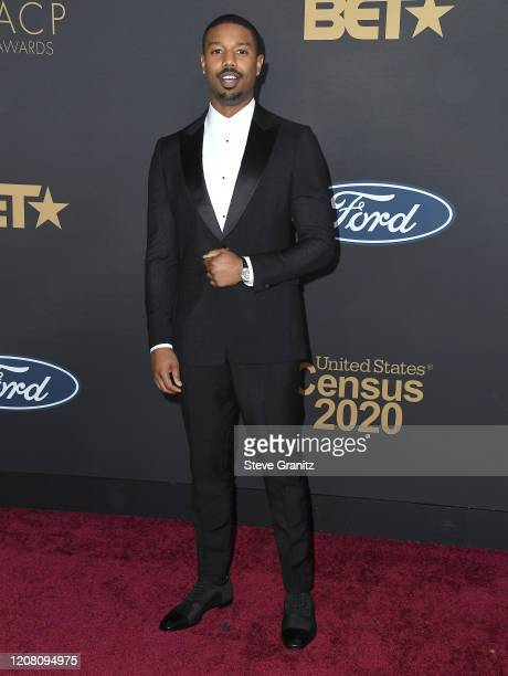Michael B Jordan arrives at the 51st NAACP Image Awards on February 22 2020 in Pasadena California