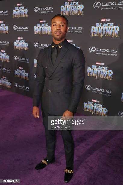 Michael B Jordan arrives for the World Premiere of Marvel Studios' Black Panther presented by Lexus at Dolby Theatre in Hollywood on January 29th