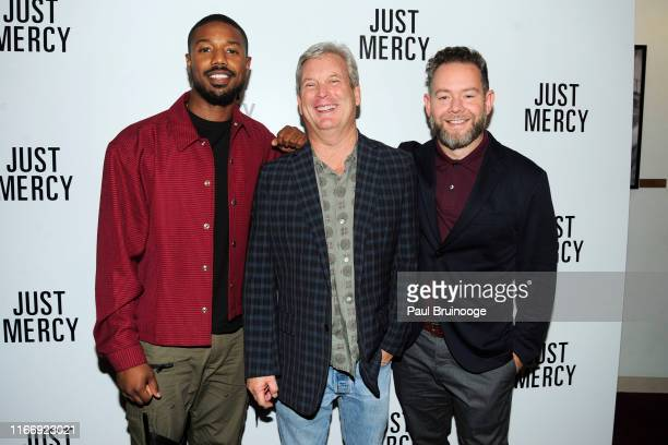 Michael B Jordan Asher Goldstein and Andrew Lanham attend Warner Bros Hosts A Special Screening Of Just Mercy at DGA Theater on September 8 2019 in...