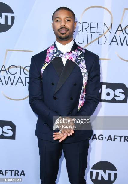 Michael B. Jordan attends 25th Annual Screen ActorsGuild Awards at The Shrine Auditorium on January 27, 2019 in Los Angeles, California.