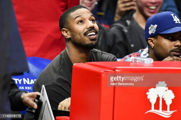 Michael B Jordan attends a basketball game between the Los Angeles Clippers and the Houston Rockets at Staples Center on April 03 2019 in Los Angeles...