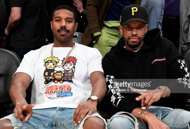Michael B Jordan attends Los Angeles Lakers and Milwaukee Bucks basketball game at Staples Center on March 6 2020 in Los Angeles California