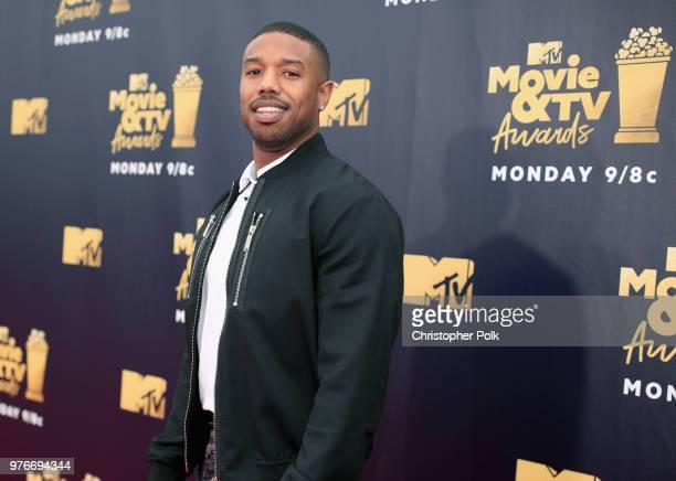 Michael B Jordan attends the 2018 MTV Movie And TV Awards at Barker Hangar on June 16 2018 in Santa Monica California