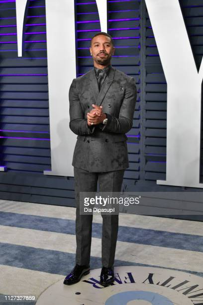 Michael B Jordan attends the 2019 Vanity Fair Oscar Party hosted by Radhika Jones at Wallis Annenberg Center for the Performing Arts on February 24...