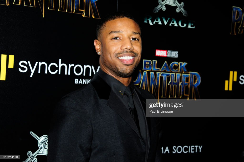 Michael B. Jordan attends The Cinema Society with Ravage Wines & Synchrony host a screening of Marvel Studios' 'Black Panther' at The Museum of Modern Art on February 13, 2018 in New York City.
