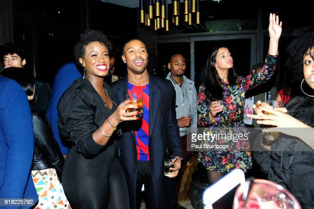 Michael B Jordan attends The Cinema Society with Ravage Wines Synchrony host the after party for Marvel Studios' 'Black Panther' at The Skylark on...
