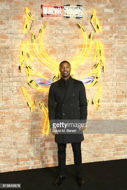 "Michael B. Jordan attends the European Premiere of ""Black Panther"" at the Eventim Apollo on February 8, 2018 in London, England."