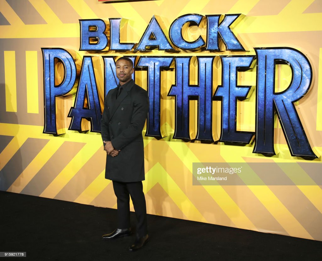 Michael B. Jordan attends the European Premiere of 'Black Panther' at Eventim Apollo on February 8, 2018 in London, England.