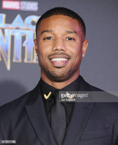 Michael B Jordan attends the Los Angeles Premiere 'Black Panther' at Dolby Theatre on January 29 2018 in Hollywood California