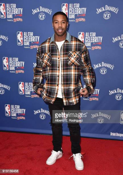 Michael B Jordan attends the NBA AllStar Celebrity Game 2018 at Verizon Up Arena at LACC on February 16 2018 in Los Angeles California