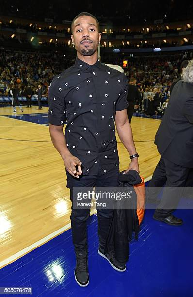 Michael B Jordan attends the Orlando Magic vs Toronto Raptors NBA Global Game at The O2 Arena on January 14 2016 in London England