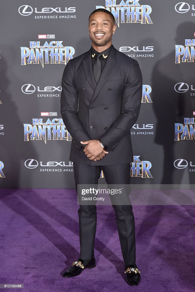 Michael B Jordan attends the Premiere Of Disney And Marvel's 'Black Panther' - Arrivals on January 29, 2018 in Hollywood, California.