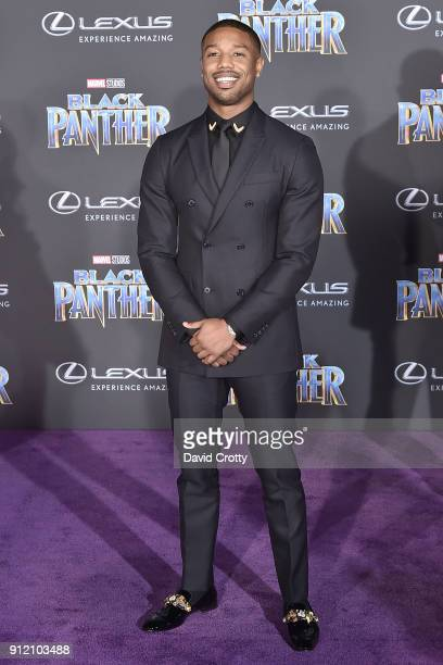 Michael B Jordan attends the Premiere Of Disney And Marvel's 'Black Panther' Arrivals on January 29 2018 in Hollywood California